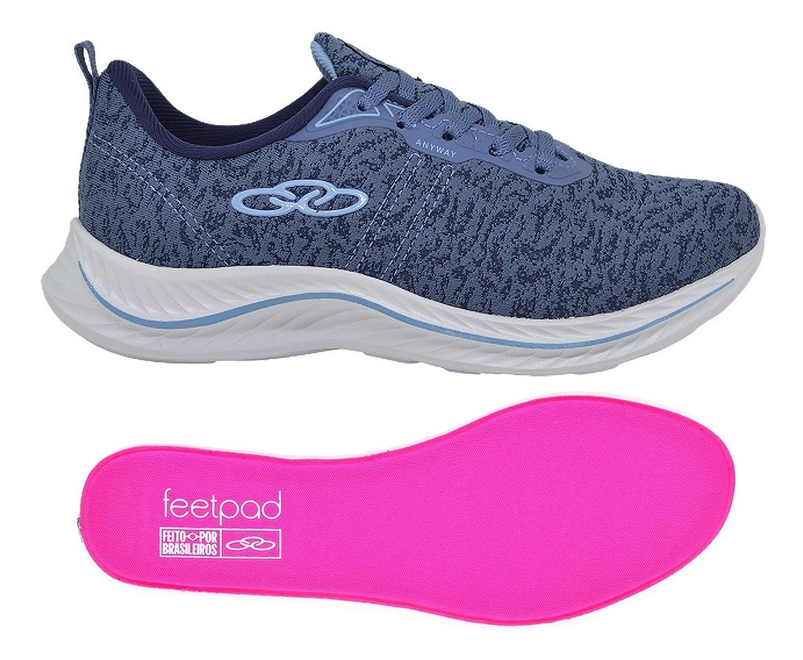 Tenis Feminino Caminhada Academia Olympikus Anyway Azul