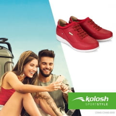 Tênis Casual Feminino Vermelho Salto Anabela Kolosh C0448
