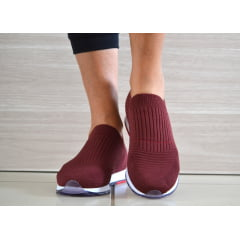 Tênis Feminino Tricot Slip On Usaflex ad1113 Vermelho