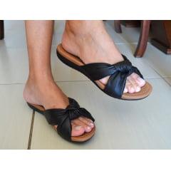 Sandália Feminina Rasteira Usaflex Preto Bege R1850 Conforto